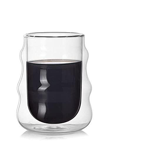 Hogar de alta temperatura remojo taza de té taza transparente alta vidrio borosilicato aislamiento doble taza de café-B_300ML