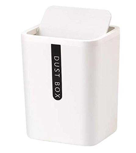 Hava Kolari Cubo de basura en miniatura para almacenamiento de mesa, oficina y cocina, color blanco