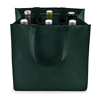 True 6 Bottle Wine Bag with Divider Non-Woven 100 GSM Customizable Reusable Wine Bottle Carrier Green