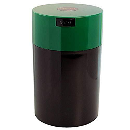Tightpac America, Inc. Vakuum-versiegelter Kaffeebehälter von Coffeevac, 450 g, blau getönter Deckel und Becher, Plastik, Green Cap & Black Body, 1.85-Liter/1.6-Quart