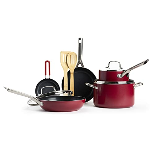 Red Volcano Textured Healthy Ceramic Nonstick Cookware Pots and Pans Set, 10 Piece