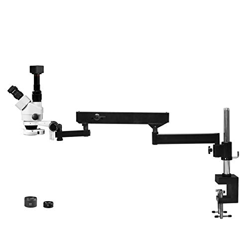 Parco Scientific Simul-Focal Trinocular Zoom Stereo Microscope,10x WF,3.5x-90x Magnification,0.5x&2x Auxiliary Lens,Articulating Arm Pillar Clamp Stand,144-LED Ring Light,5.0MP Digital Eyepiece Camera