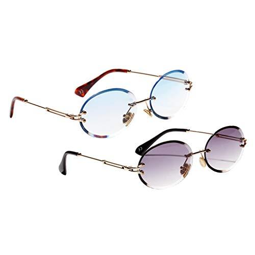 Sharplace Gafas de Sol Sin Montura Ovaladas para Mujer de 2 Piezas, Gafas de Lentes Teñidas de Diseñador Clásico Retro