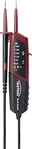 Testboy 40 Simple Zweipoliger Spannungsprüfer mit LED-Anzeige für Gleich- und Wechselspannung (Durchgangsprüfung, Einhandbedienung, Spannungsbereich 12-690 V AC/DC, Anzeige mit 10 LEDs), Schwarz/Rot