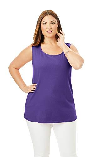 Jessica London Women's Plus Size Horseshoe Neck Tank Top Stretch Cotton - 22/24, Midnight Violet