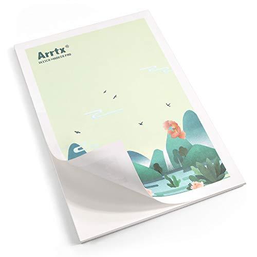 Arrtx Markerpapier A4, 30 Blatt, 56 lbs/120gsm, Kalt gepresst, Säurefrei Skizzenpapier, klebegebundener Malblock für Markers& skizzieren, 1 pack