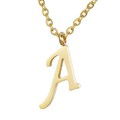Morella Damen Halskette mit Buchstabe A Anhänger Edelstahl Gold in Schmuckbeutel