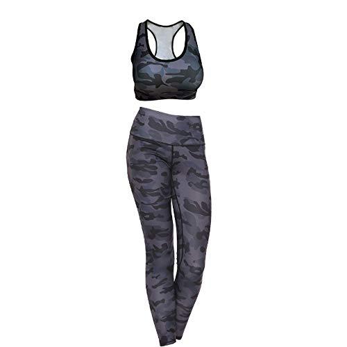 GHdfsad Donna Tuta da Ginnastica 2 Pezzi Crop Top e Pantaloni Vita Alta Abbigliamento Sportivo Estivo Pilates Yoga Fitness Allenamento Tuta Completa per Donna
