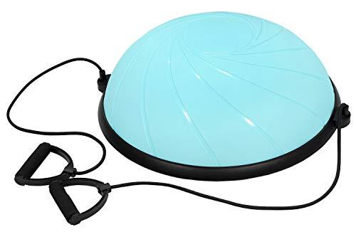 KaRaDaStyle バランスボール 半球 半円 体幹 トレーニング ゴムチューブ付き 直径60cm (アクアブルー)