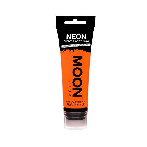 Moon Glow Grande Peinture fluo UV visage & corps. 75 ml Intense Orange avec applicateur éponge