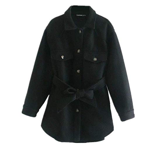 N\P Mujeres con Cinturón Suelto Lana Chaqueta Abrigo Vintage Manga Larga Bolsillos Laterales Mujer Ropa Exterior Chic Abrigo