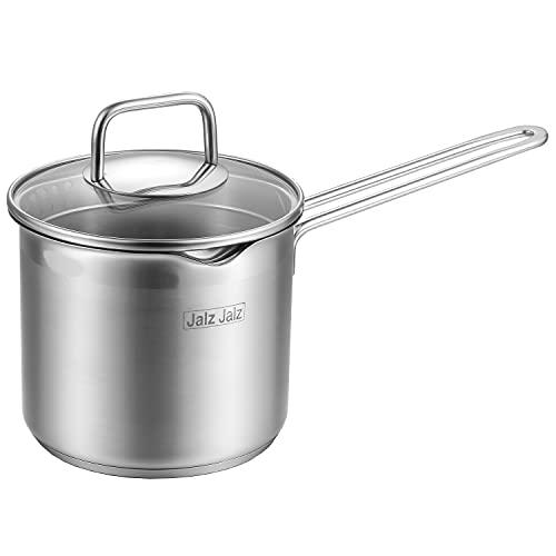 jalz jalz Stainless Steel Saucepan With Glass Lid,Classic Cookware, Sauce Pan,1.5 Quart for Boiling Milk, Sauce, Gravies, Pasta,Noodles