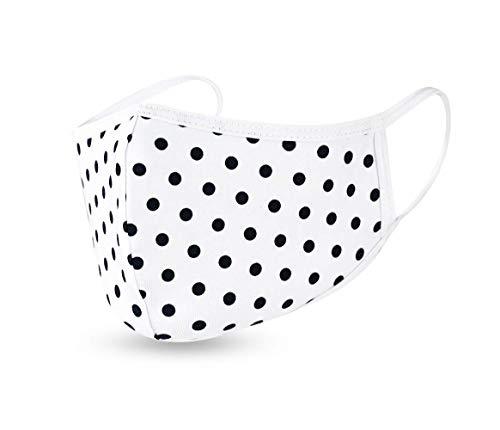 Humy Gesicht Maske mit Nasenbügel, Mund Nasen Maske, Freizeit und Sport Maske, Schutzmaske, Atmungsaktiv (S bis XL) (M, [M8] Schwarz Kreis)