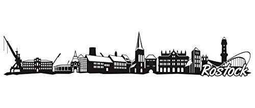 Samunshi® Rostock Skyline Wandtattoo Sticker Aufkleber Wandaufkleber City Gedruckt Rostock 120x23cm schwarz