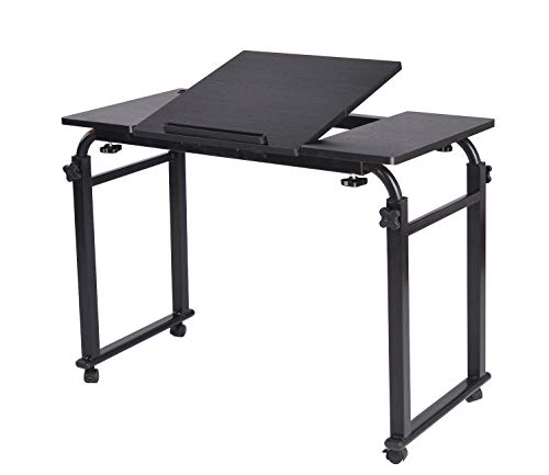 Overbed Table Laptop Cart Table Desk on Wheels Over The Bed Table Computer Study Desk for Home Hospital with Adjustable Width and Height