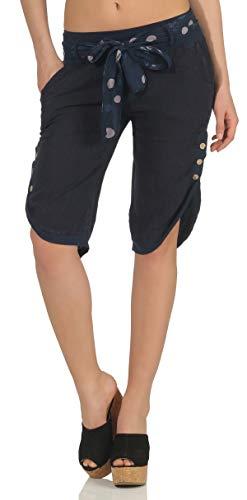 malito dames kort broeken uit linnen | Capribroek in effen kleuren | fijne vrijetijdsbroek met riem | stoffen broek - Chino 8186