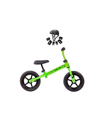 Grupo K-2 Bicicleta De Iniciación Sin Pedales para Niños con Cuadro de Acero Resistente | con Manillar Ergonómico y Sillín Ajustable | Rueda de 10' | para Niños de 2 a 5 Años | Verde