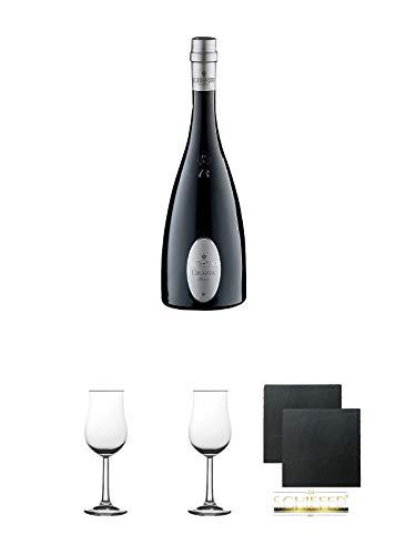 Alexander Bianca Grappa 0,7 Liter (dunkle Flasche) + 2 Bugatti Nosing Gläser mit Eichstrich 2cl und 4cl + 2 Schiefer Glasuntersetzer eckig ca. 9,5 cm Ø