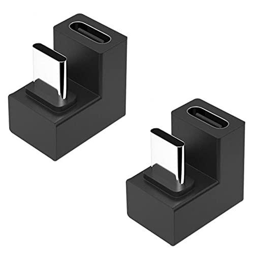 fine-R USB Type C 変換 アダプター U字 U型 180° 2個 セット USB3.1 高速充電 PD充電 データ同期 10Gbps タイプc type-c 変換アダプタ 180度 オス メス USB C コネクター スリムデザイン