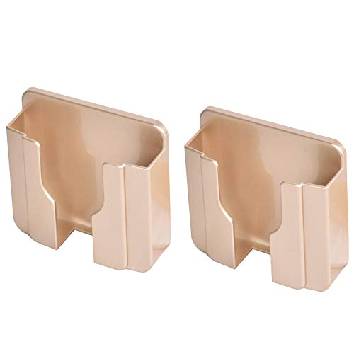 2PCS Sticky on Wall Stand Mount Mobile Phone Charger Socket Pocket, Storage Box Cell Phone Remote Control Holder, Damage-Free Universal Dock Case with Double Sieded Foam Tape (Gold)