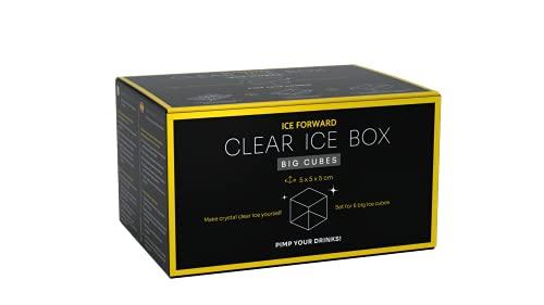 Clear Ice Box Big Cubes | Eisbox mit Eiswürfelform für 6 große, klare Eiswürfel | je 5 x 5 x 5 cm | kristallklar | schmilzt langsamer | ideal für Cocktails & Whisky