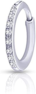 KuberBox 14k White Gold Diamond Nose Pin