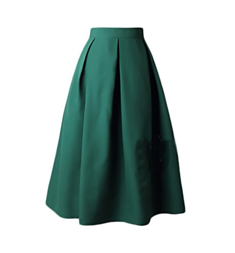Gonna Pieghe Donna Eleganti Gonna A Ruota Anni 50 Vita Alta Vintage Hip Hop Grazioso Moda Casual Puro Colore Gonne Sezione Medio Lunga (Color : Verde, Size : M)