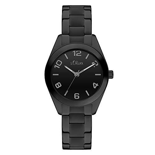 s.Oliver Damen-Armbanduhr XS Analog Quarz Edelstahl SO-4315-MQ (schwarz-schwarz)