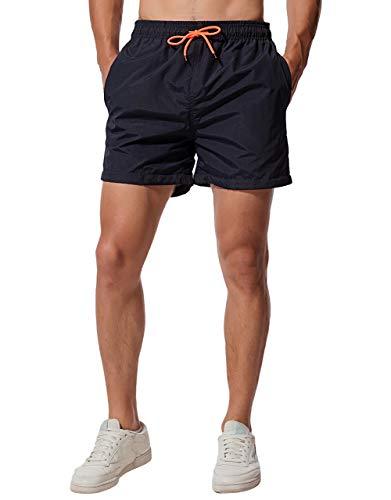 CHYU Herren Badeshorts Badehose Beachshorts Schwimmhose Schnelltrocknend Shorts Sporthose mit Mesh-Futter und Verstellbarem Tunnelzug (Navy Blau, XL)