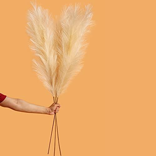 Faux Pampas Grass Large Beige Color-Fake Artificial Pampas Grass Decor Tall & Fluffy (48'/4 Feet) 3 Stems Pompous Grass,floor vase filler-pampas grass vase feather-pompass grass branches-pompas floral
