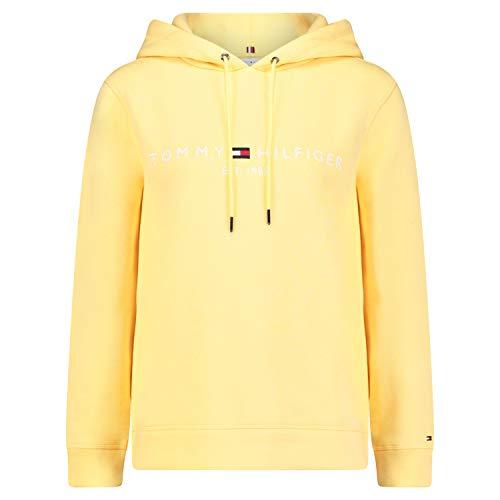 Tommy Hilfiger Damen Th ESS Hilfiger Hoodie Ls Sweatshirt, Gelb (Sunray Zfb), 40 (Herstellergröße: X-Large)