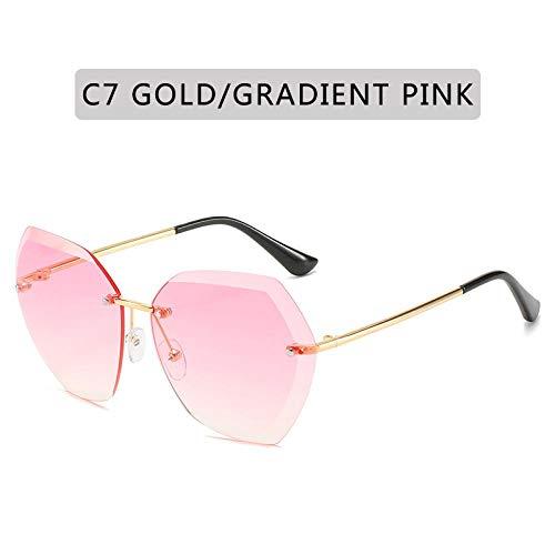 Gafas De Sol Gafas De Sol Piloto Sin Montura De Moda para Mujer Retro Vintage Lente De Corte Gradiente Gafas De Sol Mujer Uv400 C7