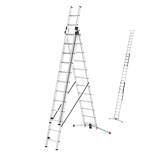 Hailo S100 ProfiLOT 3-teilige Alu-Kombileiter mit LOT-System, gleicht Unebenheiten aus, 3 x 12 profilierte Sprossen belastbar bis 150 kg, Aluleiter made in Germany, Leiter rostfrei, Silber