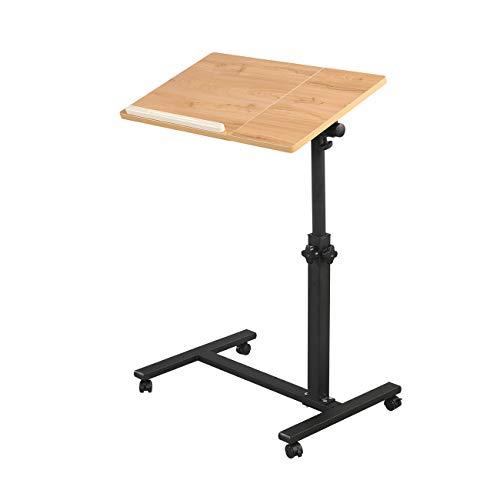 Rolling Laptop Table Lap Desk for Laptop Rolling Cart Tilting Overbed Bedside Table Overbed Desk Overbed Table with Wheels Adjustable Laptop Stand Sofa Side Table