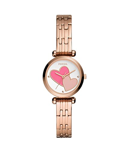 Fossil - Tillie Mini reloj analógico de cuarzo con correa de acero inoxidable en tono dorado rosa para mujer BQ3697