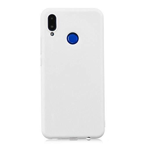 cuzz Funda para Huawei Honor 8X+{Protector de Pantalla de Vidrio Templado} Carcasa Silicona Suave Gel Rasguño y Resistente Teléfono Móvil Cover-Blanco