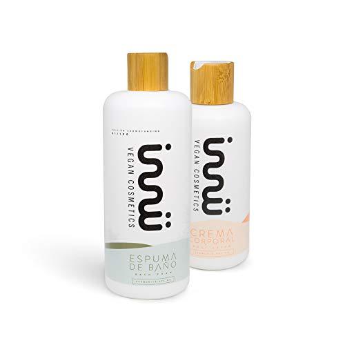 Innu Vegan - Essence Pack - Espuma de baño 250 ml y Crema corporal 500ml - Calma e hidrata la piel - Ingredientes naturales - Vegano Cruelty Free - Vegan Society
