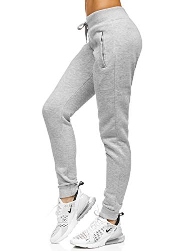 BOLF Mujer Pantalón Deportivo Pantalón de Chándal Largos Jogger Pantalones de Algodón Slim Fit CK-01 Gris L [F6F]