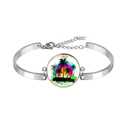 Pulsera, brazalete de acero inoxidable brazalete de regalo de joyería puño pulido estilo de caja de regalo de moda árbol de coco de arte para hombres mujeres