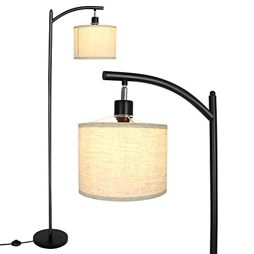 Floor Lamp for Living Room,Modern Standing Lamp with 60 Lea Beige Linen Shade & Universal E26 Socket for Bedroom,Office,63.5 inch Tall,Matte Black