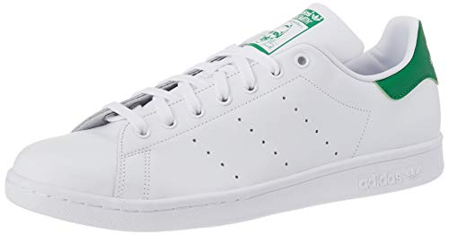 adidas Originals Men's Stan Smith Leather Sneaker, Footwear White/Core White/Green, 10.5