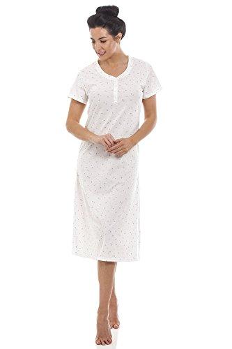 CAMILLE Damen Kurzarm-Nachthemd mit Glitzer-Herzen Leichter Stoff - Weiß 42/44