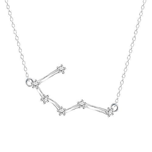 DDDDMMMY Collar,Cáncer Constelación 12 925 Silver Necklace Horóscopo Signo Zodiaco Zircon Joyas Star Galaxy Libra Astrología Regalo Collar De Mujer