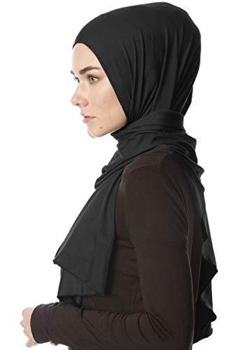 Ecardin Hijab Jersey Premium Melek - Schwarz Elastisch Jersey Schal (Schwarz)