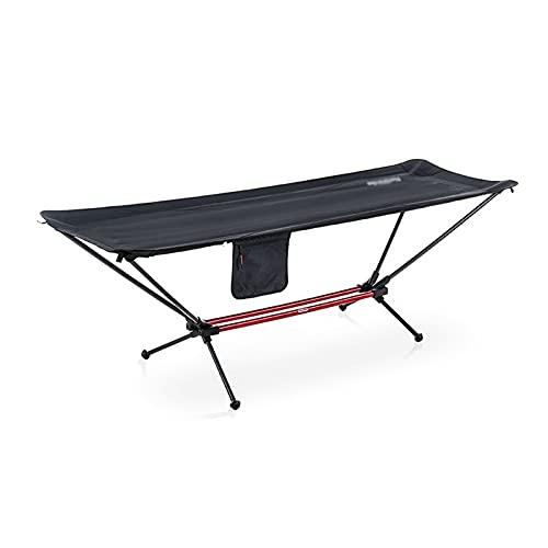 JKXWX Cama Plegable Hamaca Plegable de una Sola Hamaca de Acampar portátil Hamaca de la aleación de Aluminio for el Almuerzo de la Oficina. Cama de Camping (Color : Black)