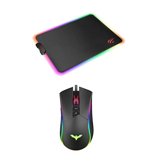 Havit RGB Gaming Mouse Wired Programmable Ergonomic USB Mice & RGB Gaming Mouse Pad Combo