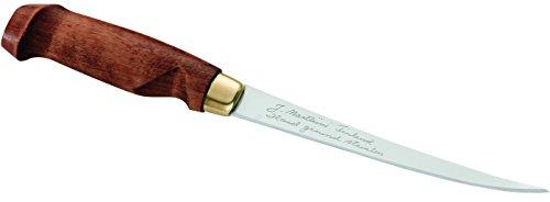Marttiini 901315 - Coltello Finlandese per Sfilettare, Lunghezza Lama: 15,5 Cm, Manico in Legno di Betulla, con Custodia in Pelle