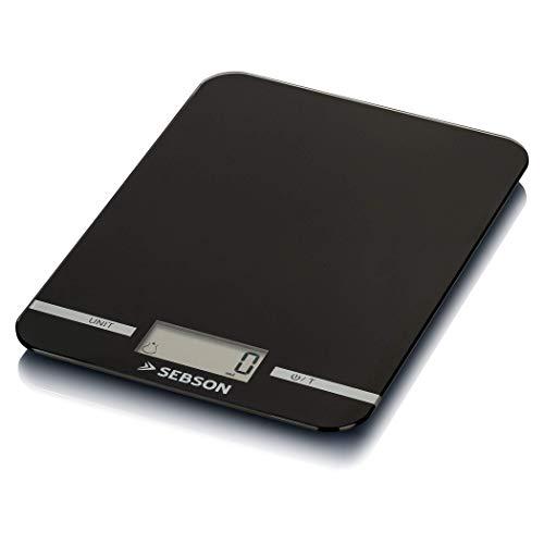 SEBSON Báscula de Cocina digital 5kg, precisión 1g, para alimentos (g) y líquidos (ml), Función Tara, Pesadora Alimentos 218x158x11mm plano