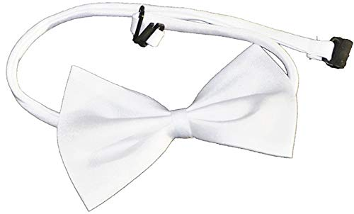 Aptafêtes - AC1252/BLANC - Nœud papillon simple attache réglable, 100% polyester - 12 x 6.5 cm