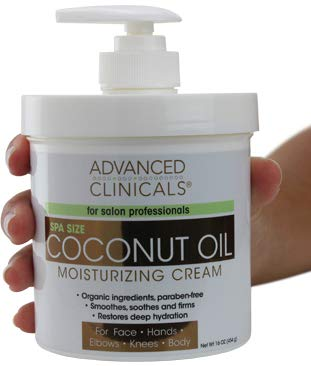 Advanced Clinicals Coconut Oil Cream. Spa size 16oz Moisturizing Cream. Coconut...